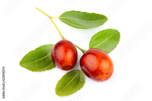 Valokuva  Unabi fruits (Ziziphus,jujube) with leaves isolated.