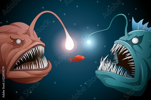 Photo Anglerfish mouth on dark background