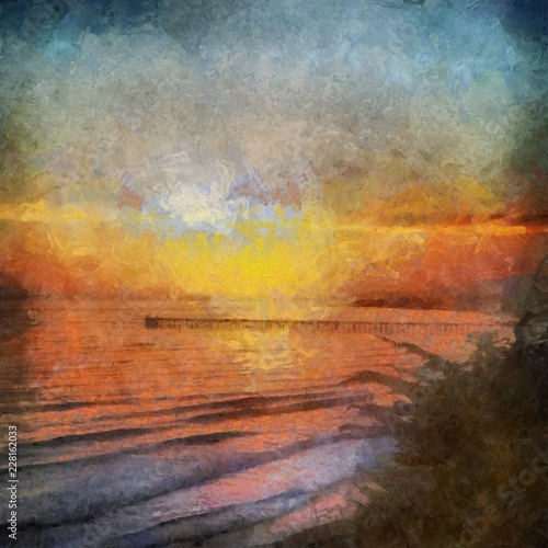 Papiers peints Affiche vintage Hand drawing watercolor art on canvas. Artistic big print. Original modern painting. Acrylic dry brush background. Beautiful sea landscape. Charming sunset. Resort view. Exotic paradise.