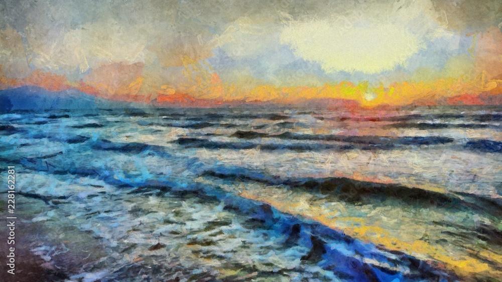 Fototapeta Hand drawing watercolor art on canvas. Artistic big print. Original modern painting. Acrylic dry brush background. Beautiful sea landscape. Charming sunset. Resort view. Exotic paradise.
