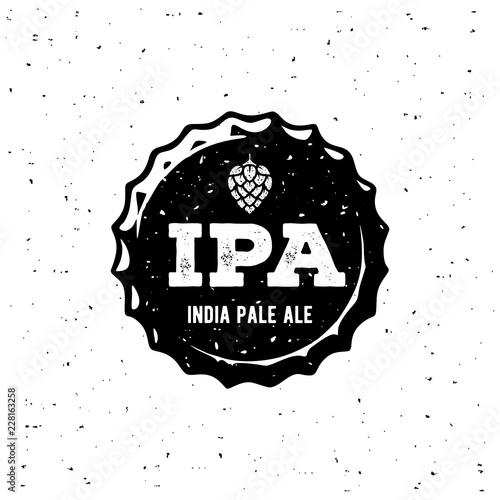 Ipa Cap Grunge White Emblem. Vector Illustration. Canvas Print
