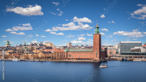Poster Stockholm Scenic view with the City Hall on a beautiful sunny day, Stockholm, Sweden