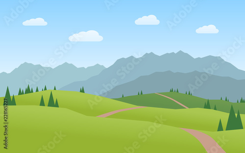 Poster Pool mountains and hills landscape flat design