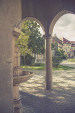 Hot Mineral Water Spring And Historical Buildings In Piestany, Slovakia