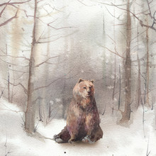 Watercolor Winter Landscape: Snowy Forest Scene With Bear. Hand Painted Vintage Card.