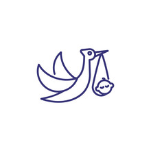 Stork With Baby Line Icon. Newborn Concept. Childhood, Kid, Newborn. Vector Illustration For Topics Like Childhood, Nursery, Baby Birth