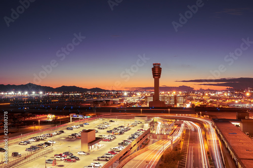 Night time view of Phoenix, Arizona skyline, long exposure