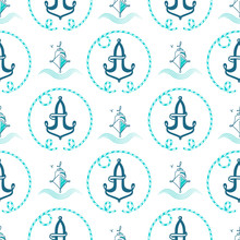 Seamless Pattern From Sailing Elements. Vector Pattern, Abstract Background, Wallpaper. Nautical Collection, Marine Travel Icons.