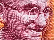 Mahatma Gandhi Face Portrait On India 200 Rupee (2017) Banknote Close Up Macro, Leader Of The Indian Independence Movement, Father Of Nation