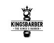 Vector King Barbershop Pole with Crown Sign Symbol Vintage Retro Company Logo Template Design Inspiration