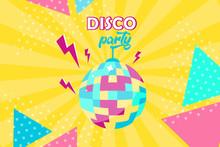 Vector Illustration. Disco Ball Icon. Disco Party Poster. Retro Style. Background
