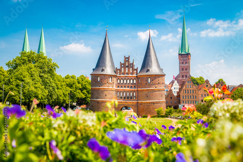 Spoed Foto op Canvas Centraal Europa Historic town of Lübeck with Holstentor gate in summer, Schleswig-Holstein, northern Germany