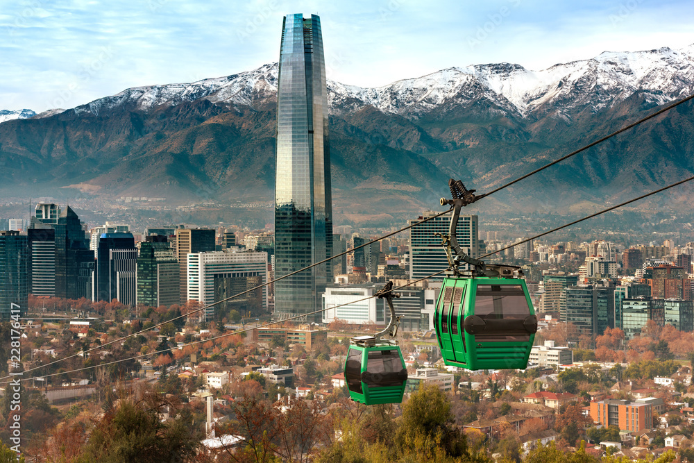 Fototapety, obrazy: Cable car in San Cristobal hill, overlooking a panoramic view of Santiago de Chile