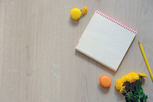 Blank Card With Flowers On Wooden Background