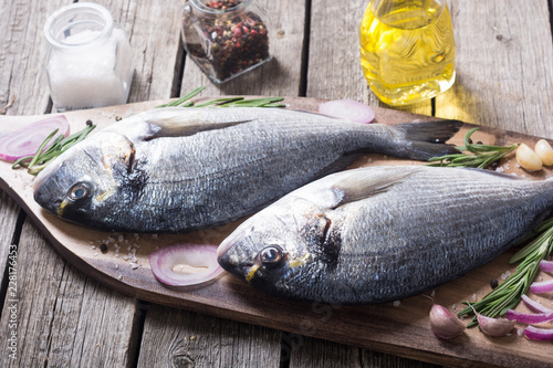 Raw dorado fish and ingridient for cooking
