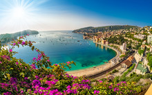 Panoramic View Over Villefranche Sur Mer On The Coast Of Nice Cityscape, France