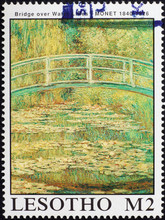 Bridge Over Water Lillies By Monet On Postage Stamp
