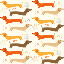 Dachshound Seamless Pattern - Doxie Background Design