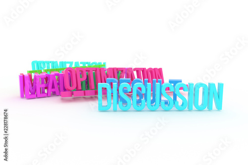 Staande foto Positive Typography Optimization, Discussion, business conceptual colorful 3D rendered words. Positive, caption, backdrop & cgi.