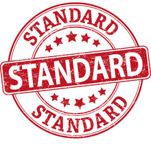 Red Standard Round Textured Rubber Stamp Badge