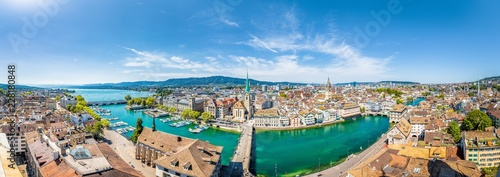 Spoed Foto op Canvas Centraal Europa Zürich aerial panorama with Limmat river in sumemr, Switzerland