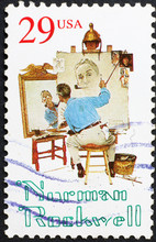 Norman Rockwell Selfportrait On American Postage Stamp