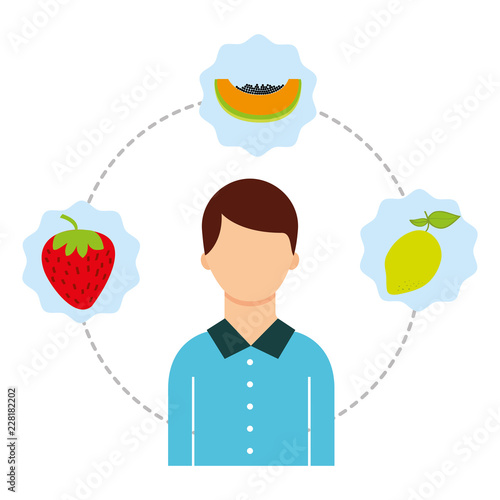Fotografie, Obraz  man with fresh nature fruits