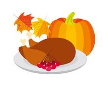 Thanksgiving Day Turkey Pumpkin Cherries Leaves