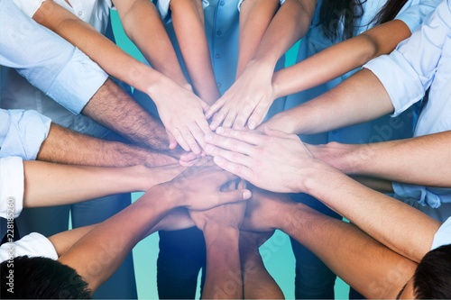 Fotografia  Top View of People in Circle with