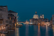 Grand Canal and Santa Maria della Salute in Venice, Italy at night