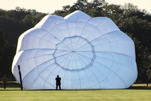 White Hot Air Balloon Being Inflated