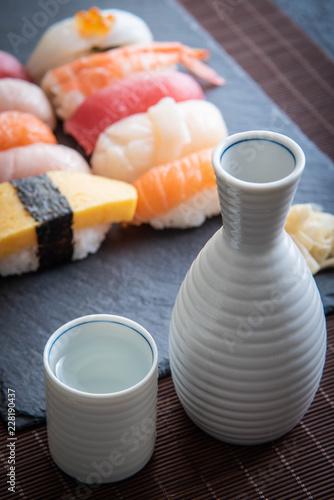 japanese sushi and sake