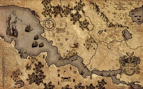 Obrazy w różnych kolorach  old-vintage-fantasy-map