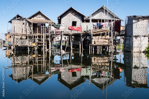 Fotografia, Obraz  houses on stilts in inle lake in myanmar
