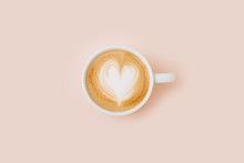 Coffee Cup On Pale Pink Backgr...