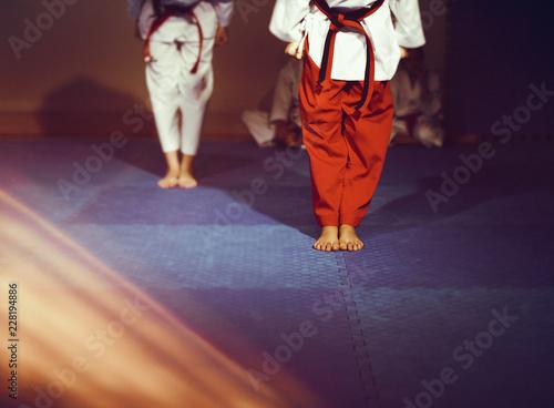 Taekwondo athletes bare feet martial art attention on floor