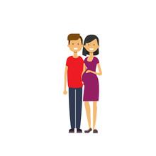 Pregnant Smiling Wife Happy Hu...