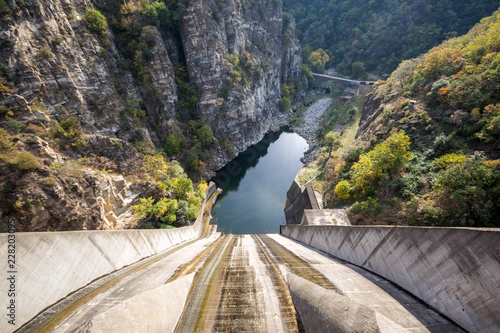 Foto op Aluminium Cathedral Cove Autumn ladscape from dam of The Krichim Reservoir, Rhodopes Mountain, Plovdiv Region, Bulgaria