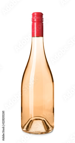 Bottle of pink wine on white background