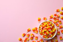 Colorful Candy Corns And Space For Text On Color Background, Top View