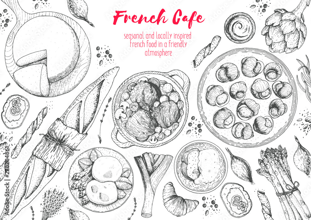 Fototapety, obrazy: French cuisine top view frame. A set of classic French dishes with bakery, beef bourguignon, escargot, poached eggs, onion soup. Food menu design template. Hand drawn sketch vector illustration.
