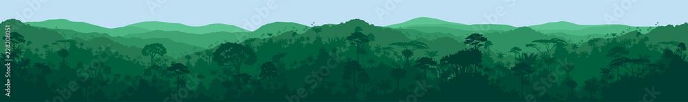Fototapeta  vector horizontal seamless tropical rainforest Jungle background