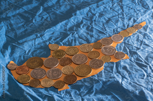 International coins on cutted out of paper Cyprus island