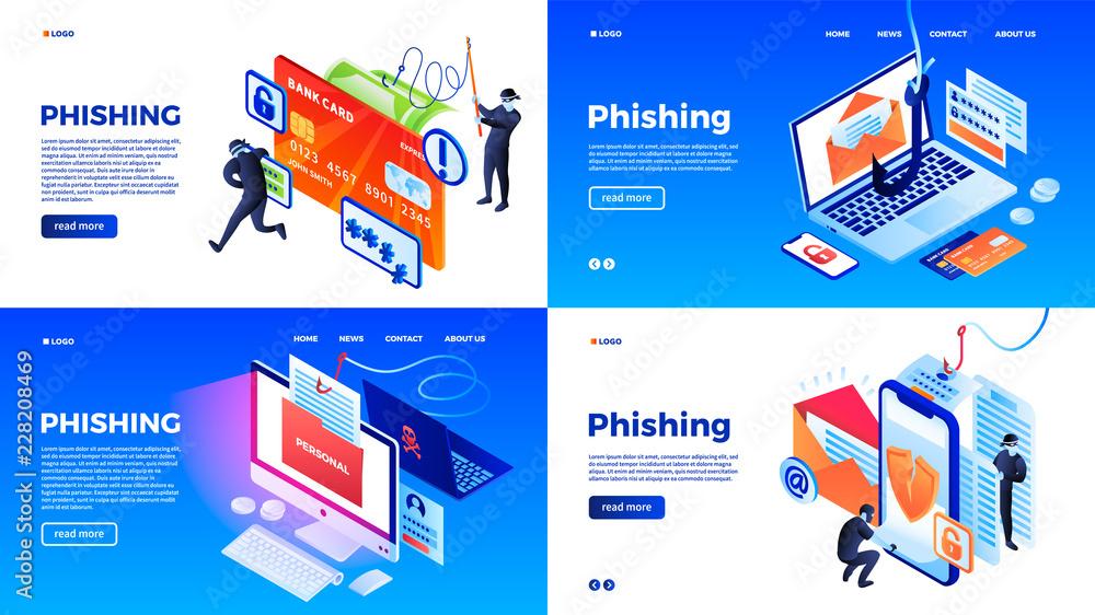 Fototapeta Phishing banner set. Isometric set of phishing vector banner for web design