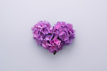Heart Shape Made Of Purple Flowers On Lilac Background. Love Symbol. Top View