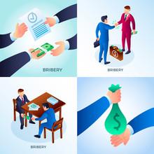 Bribery Banner Set. Isometric Set Of Bribery Vector Banner For Web Design
