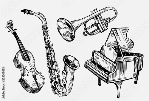 A set of musical instruments: violin, piano, saxophone. Hand drawn sketch converted to vector