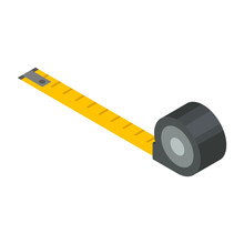 Measure Tape Icon. Isometric Of Measure Tape Vector Icon For Web Design Isolated On White Background