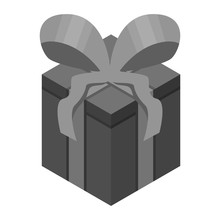 Black Gift Box Icon. Isometric Of Black Gift Box Vector Icon For Web Design Isolated On White Background