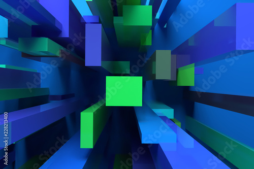 Background abstract colorful lighting, pillar block or shapre for design, graphic resource. 3D rendering.